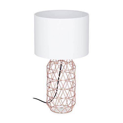 Relaxdays Tischlampe Gitter, runder Lampenschirm, Metallfuß, E27, Nachttischlampe, H x D: 45 x 25 cm, weiß/rose-gold