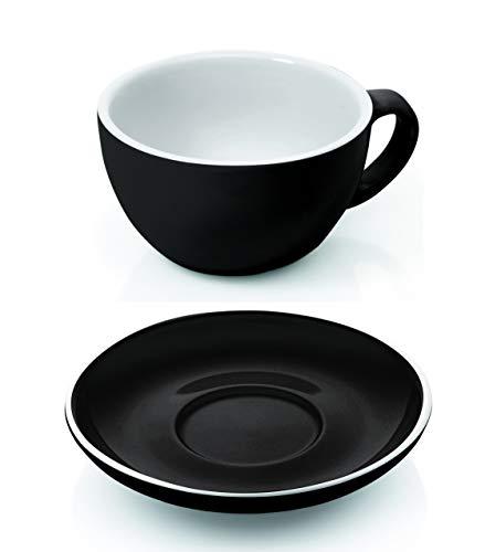 Gastro Spirit - 12-teiliges Cappuccino-Tassen/Kaffee-Tassen Set - Schwarz, 200 ml, Porzellan, dickwandig