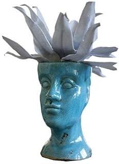 Kalalou Ceramic Head Planter, One Size, Turquoise