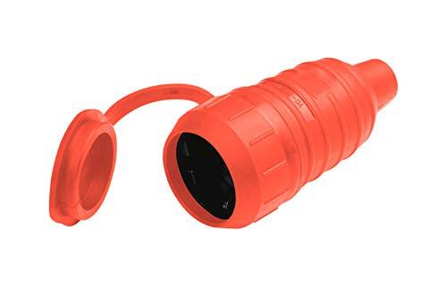 Meister Schutzkontakt-Kupplung - Gummi/Kunststoff - rot - 250 V - 16 A - Maximaler Kabelquerschnitt 2,5 mm² - IP44 Außenbereich - Zentrale Einführung / Schuko-Kupplung mit ISO-Einsatz / 7422570