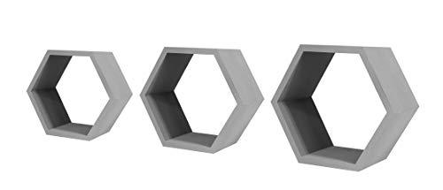 Hexagon - Juego de 3 estantes flotantes para montar en la pared, diseño geométrico de panal