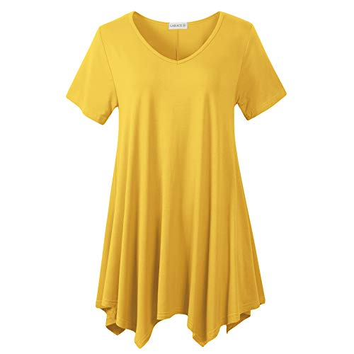LARACE Womens V Neck T Shirts Casual Loose Fit Short Sleeve Tunic Plus Size Tops for Leggings(Yellow 4X)