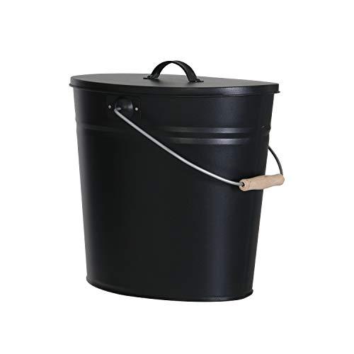 Mehrzweckeimer als Ascheeimer mit Deckel-Kaminzubehör zum Transportieren und Abkühlen von heißer Glut und Asche-Größe: 15 Liter/Farbe:Schwarz