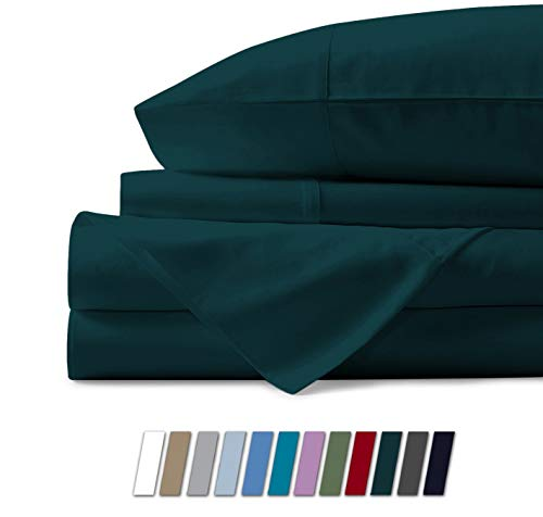 Bunny's Home 4 Piece Sheets Set 100% Egyptian Cotton 800 Thread Count 17 inches Deep Pocket, Soft Solid Hotel Luxury Best Bed Flat Bedsheet, Fitted Sheet & 2 Pillowcase [Queen Size, Teal]
