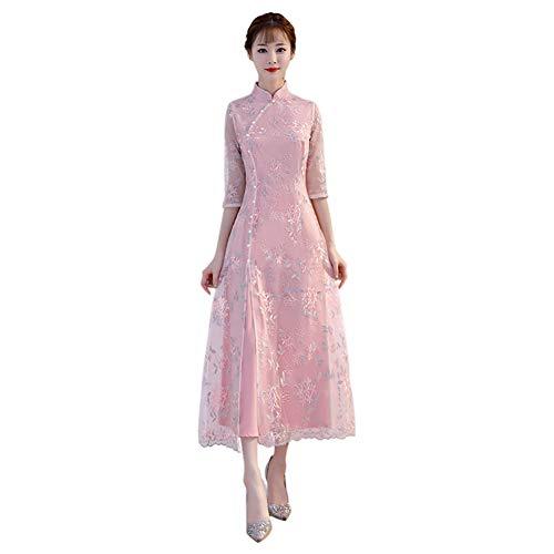 Xinvision Cheongsam Largo Chino de Las Mujer - Vestido Elegante del Bordado Floral Qipao de Las Muchachas Rosa