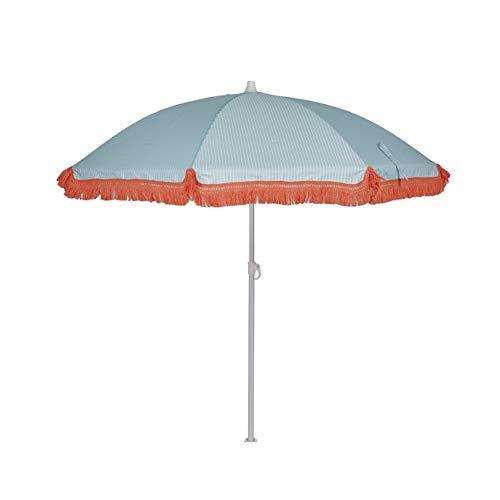 EZPELETA Sombrilla de Playa. Parasol de Playa. Ligero y Plegable de Acero. Paraguas Sol 160cm. Protección Solar UPF 50+. Estampado Flores/Cuadros/Rayas. Incluye Funda/Bolsa. - Rayas-Azul