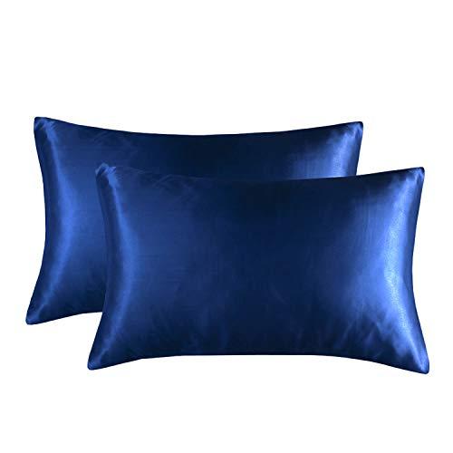 HONGCI Juego de 2 fundas de almohada de satén, fundas de almohada lisas de microfibra para cabello y piel, suave, antiarrugas y resistente a las manchas, fundas de almohada estándar