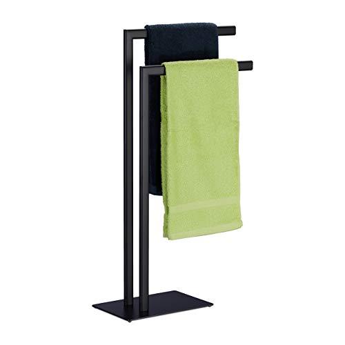 Relaxdays Handtuchständer freistehend, 2 Stangen, Badezimmer, Stahl, HxBxT: 81 x 49 x 20 cm, Bad Handtuchhalter, schwarz