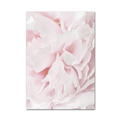 Sijifacai Pink Pineapple Rose Lotus Flower HD Canvas Posters Nordic Botanical Impresión Floral Pintura Imágenes artísticas para la decoración de la Sala de Estar 50x70 cm B-94