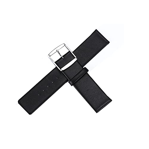 QTDS Correa De Cuero Calfskin Thin Watch Strap Men and Women Universal Watch Accessories Pulsera De Los Hombres Impermeables Accesorios(Size:18,Color:Negro)