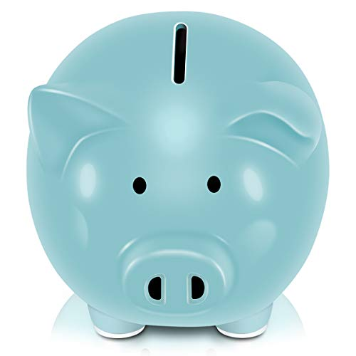 Koicaxy Piggy Bank, Child to Cherish Ceramic Pig Piggy Banks Money Bank Coin Bank for Boys Kids Girls (Blue)