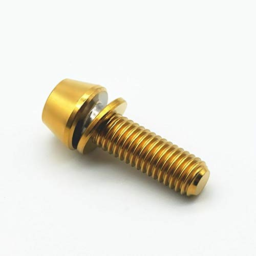 SUNYUAN 4 unids titanio tornillo M5x16 18 20mm Ti pernos con arandela Allen clave columna cono hexagonal zócalo para bicicleta vástago y manillar