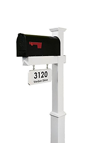 4Ever Products The Amelia Vinyl Mailbox Post System - Includes Steel Mailbox and Custom Street Address (Black Mailbox)