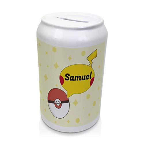 LolaPix Hucha Pokemon Personalizada con Nombre. Regalos Personalizados para Fans. Varios Modelos. Cerámica Tapón Inferior. Pokemon