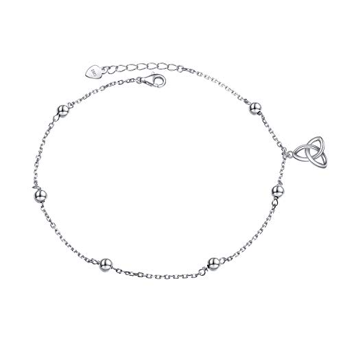 S925 Sterling Silver Adjustable Foot Chain Boho Beach Jewelry Celtic Knot Ankle Bracelet Celtic Anklets for Women Ladies Teen Girls Gifts