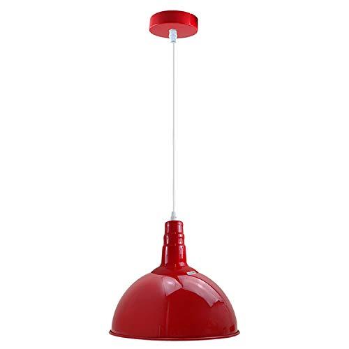 LEDSone Moderna lámpara colgante vintage roja industrial colgante de techo de iluminación ideal para comedor, bar, clubes y restaurantes base E27 (rojo)