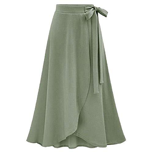 N\P Falda larga de manga larga para mujer con abertura en otoño