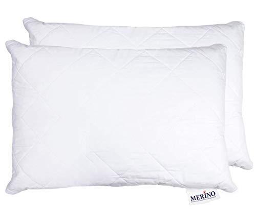 MERINO BETTEN Hochwertiges Schlafkissen 30x40 Set | Kopfkissen | Kissenhülle versteppt mit Reißverschluss | Serie Perle