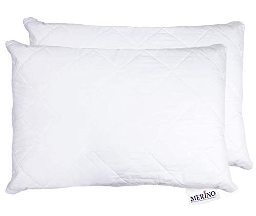 MERINO BETTEN Hochwertiges Schlafkissen 30x50 Set | Kopfkissen | Kissenhülle versteppt mit Reißverschluss | Serie Perle