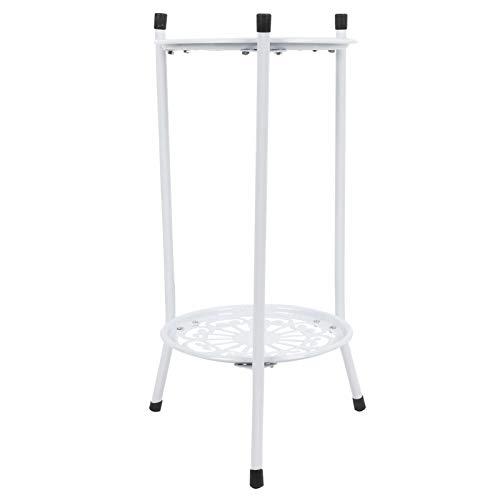Soporte para plantas de metal de 2 niveles, soporte elevado para macetas, soporte para macetas, estante de exhibición, decoración del hogar, accesorios de jardín(blanco)
