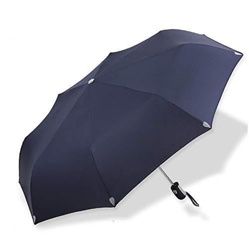 JISHIYU - Q resistente al viento, toldo ventilado de 50 mph potente paraguas de fibra de vidrio, compacto pequeño plegable, apertura automática y cierre negro (color: azul oscuro)