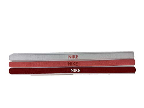 Nike Women`s Elastic Headbands 3 Pack (One Size, Red(84575)/Pink/White)