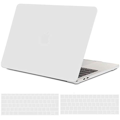 TECOOL MacBook Pro 13 inch Case 2019 2018 2017 2016, Plastic Matte Hard Case + EU Keyboard Cover for Apple MacBook Pro 13 with/without Touch Bar Model: A2159/ A1989/ A1706/ A1708 - Frost