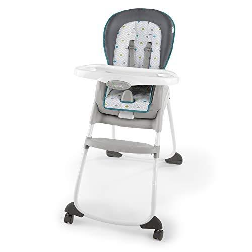 Ingenuity, 3-in-1 hoge stoel in aquamarijnblauw te gebruiken als hoge stoel, kinderzitje of stoel voor kleine kinderen tegelijkertijd. donkergrijs