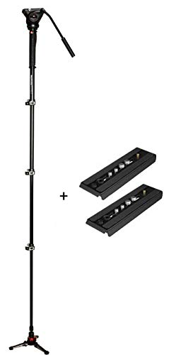 Manfrotto XPRO Four-Section Aluminum Monopod with MVH500AH Fluid Video Head Plus Two Quick Release Plates for The Rapid Connect Adapter