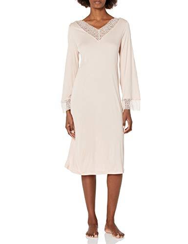 Hanro Damen Imani Long Sleeve Gown Nachthemd, Petal, Small
