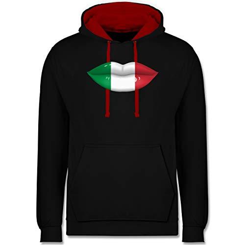 Shirtracer Länder - Lippen Bodypaint Italien - 3XL - Schwarz/Rot - Lippenstift - JH003 - Hoodie zweifarbig und Kapuzenpullover für Herren und Damen