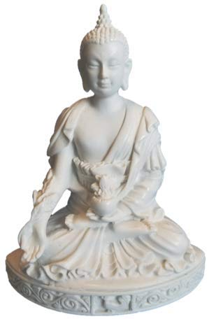 RK Collections 5.5' Buddha Statue Small in White Marble Finish. Meditating Buddha Figurine.