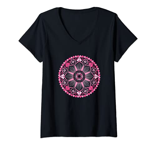 Mujer Fractal Mandala Art Good Vibe Yoga Sacred Geometry Camiseta Cuello V