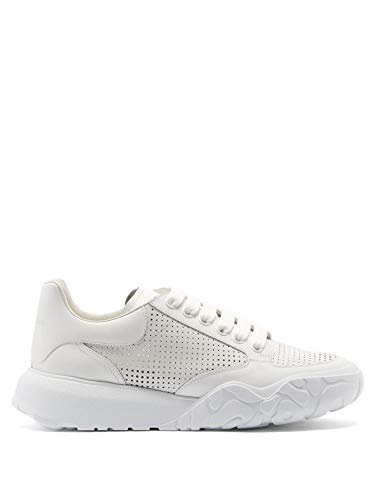 Alexander McQueen White Perforated Court Sneakers New/Authentic (Numeric_10_Point_5)