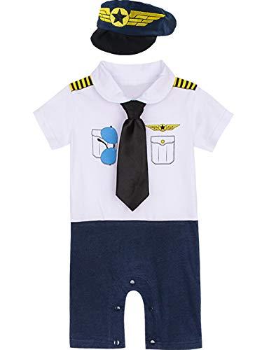 MOMBEBE COSLAND Disfraz Piloto Bebé Niño Mono (3-6 Meses, Blanco)
