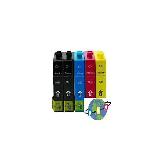 Mondial Cartucho T0615 - Pack de 5 cartuchos de tinta compatibles con Epson - 4 colores - T0615