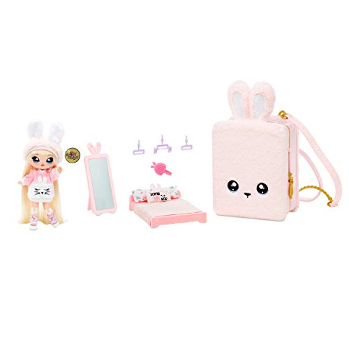 Na Na Na Surprise 3-in-1 Backpack Bedroom Playset With Limited Edition Aubrey Heart Doll In Exclusive Outfit | Pink Fuzzy Bunny Bag, Real Mirror, Closet with Drawer, Pillows, Blanket | Kids Ages 5+