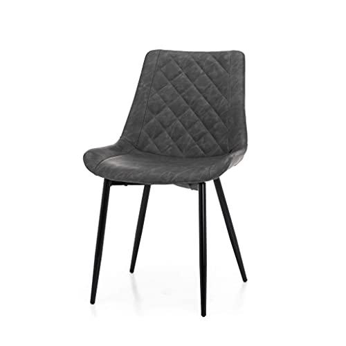 World of Chairs Schalenstuhl im Loft-Stil, H 79 X B 51, Sitzhöhe 44 cm, Sitztiefe 42 cm, Gesteppte Polsterbezüge in Lederoptik, solides Metallgestell x2