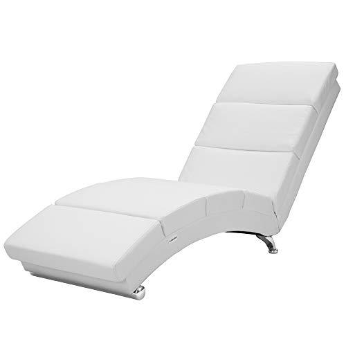 Casaria Chaise Longue London 173x55cm Sedia a Sdraio Relax Similpelle Ergonomica Divano Poltrona Soggiorno Bianco