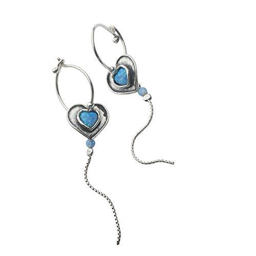 SHABLOOL Pendientes de plata de ley 925 con piedra de ópalo azul muy buena hecha a mano increíble de plata de ley Opal Blue Didae Shablool un regalo esencial para su hermosa mujer con detalles finos