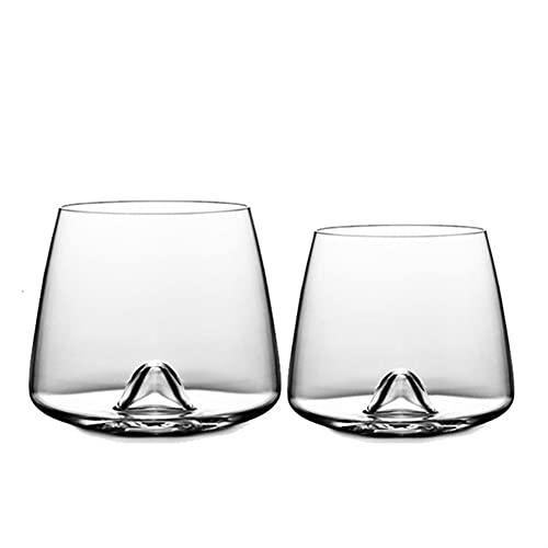 Whyzb Gafas de Whisky tamborilos de Vidrio, Conjunto de 2 vidrios de Cristal Antiguo para Beber (Capacity : 380ml)