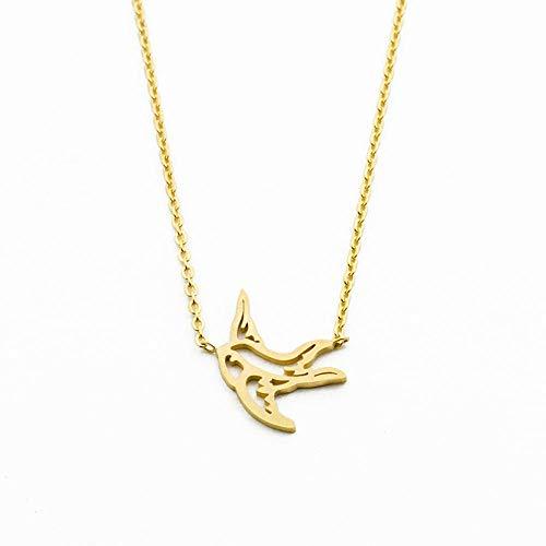 Collar con colgante con piedra de origami, collar de acero inoxidable relleno de oro con gargantilla de pájaros para mujer niña Colar Regalos de joyas animales