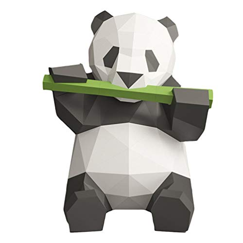 Toyvian Papel 3D Animals Nimal Papercraft Building Kit Panda Eats Bamboo Origami Paper Model Ornament DIY Toy For Kids Toddlers (Iridescent Paper)