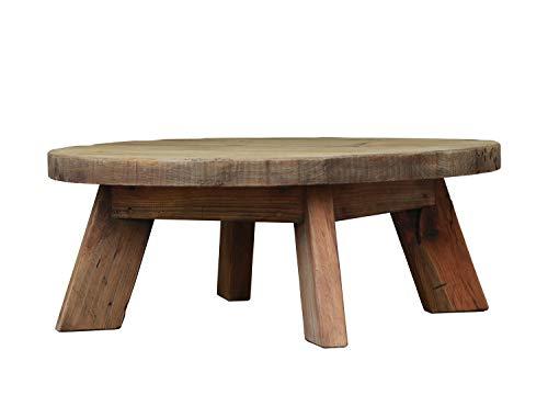Meubletmoi Table Basse Ronde 90 cm en pin recyclé - Style Esprit Montagne Rustique - Collection Chalet