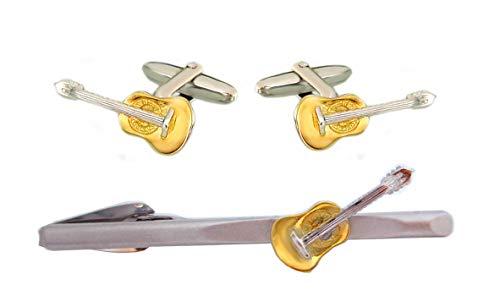 Unbekannt Set Manschettenknöpfe + Krawattenklammer Wander-Gitarre Bicolor matt-glänzend m.i. Germany inkl. Geschenkbox