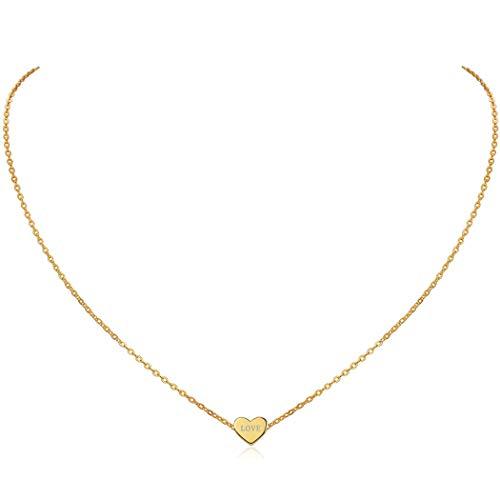 ChicSilver Collana Nome Personalizzabile Argento Donna Placcato Oro, Cindolo Cuore Piccolo Delicato, Collana Amicizia, Catena Clavicolare, Oro - Collane Donna