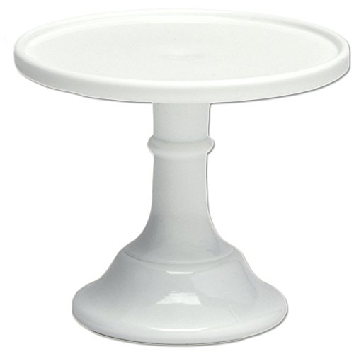 "White 6"" Glass Cake Stand by Mosser Glass"