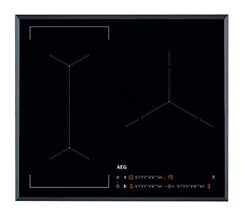 AEG IKE63441FB Placa inducción flexible, Biselada, Extraplana 3 zonas, Función Pausa, Calentamiento rápido, Sistema de conexión automática, Función Puente bizona,Negro, 60 cm