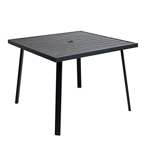 C-Hopetree Outdoor Dining Table with Umbrella Hole for Outside Patio, Metal, Square, Black