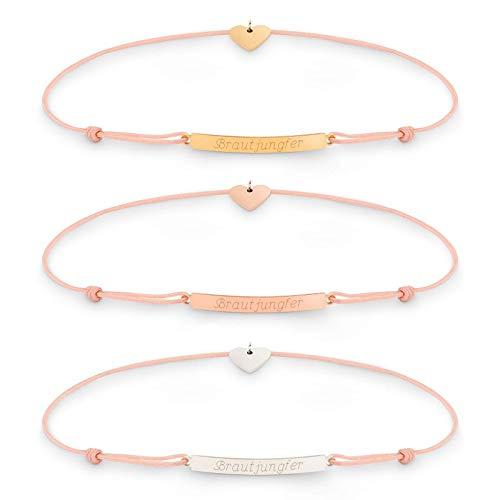 HELENA Armband Coral mit Schiebeknoten und Gravur   Silber   Gold   Rosegold   Geschenke für Brautjungfer Freundin Mutter Schwester
